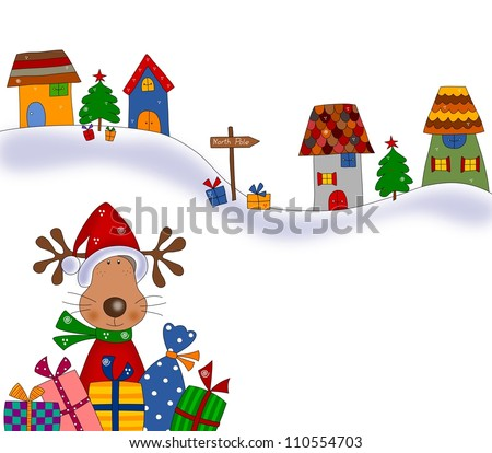 Reindeer with gift wraps. Christmas illustration - stock photo