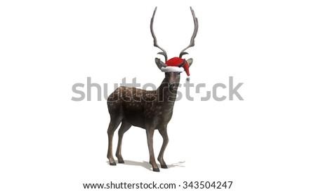 reindeer with Santa Hat - stock photo