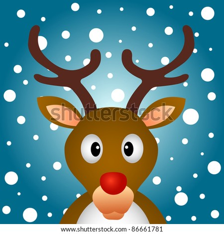 Reindeer with snow background - stock photo