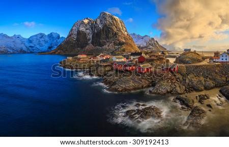 Reine fishing village, Lofoten, Norway - stock photo