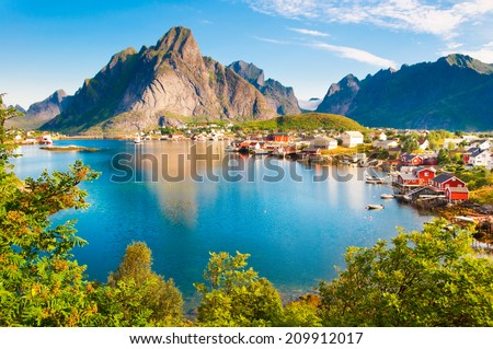 Reine fishing village on Lofoten islands, Norway - stock photo