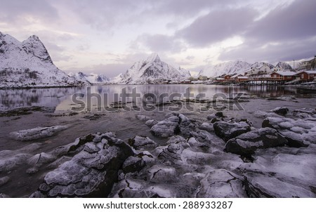 Reine in winter, Lofoten islands, Norway, inside of Artic polar circle - stock photo