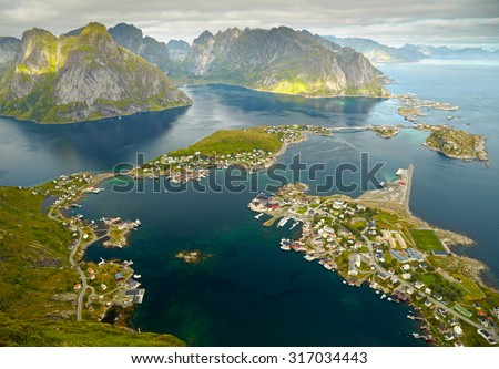 Reine, Norway. Fishing village in Moskenesoya island. Aerial view from Reinebringen hiking trail - stock photo