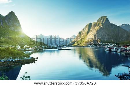 Reine Village, Lofoten Islands, Norway - stock photo