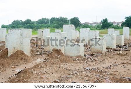 Reinforced concrete pillars - stock photo