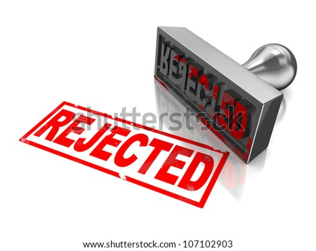 Rejected stamp with red text isolated on a white background - stock photo