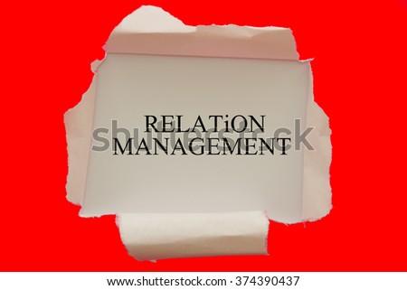 Relation Management written under torn paper - stock photo