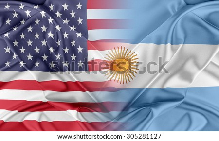 Relations between two countries. USA and Argentina - stock photo