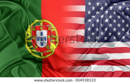 Relations between two countries. USA and Portugal - stock photo
