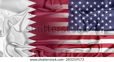 Relations between two countries. USA and Qatar - stock photo