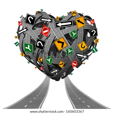 Relationship advice guidance and love counseling concept with a group of tangled roads shaped as a heart with confusing traffic signs as a metaphor for problems in relations and romantic struggle. - stock photo