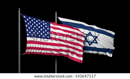 Relationship between USA and Israel - stock photo