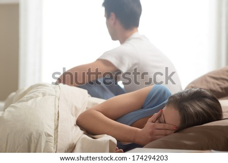 Relationship Difficulties: Young couple having problems - stock photo
