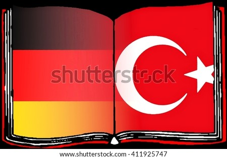 Relationship Germany - Turkey  An open, drawing book shows the deluded flags of Germany and Turkey. - stock photo