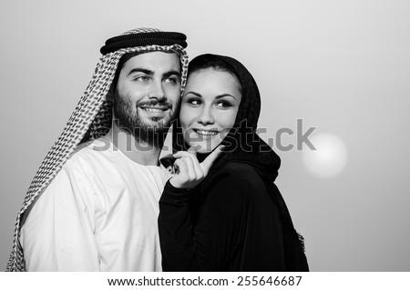 Relationship of arabic couple. - stock photo