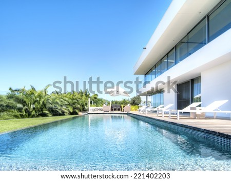 relax near the pool - stock photo