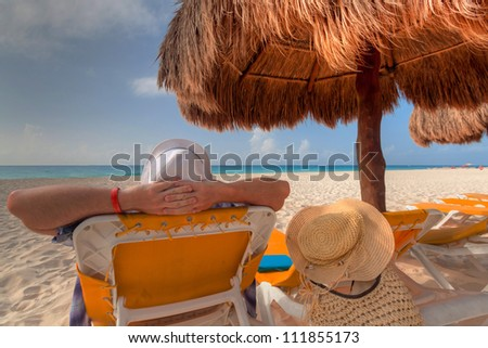 Relax on the Caribbean beach in Mexico - stock photo