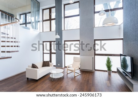 Relax space with comfortable sofa and home movie theater  - stock photo