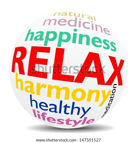 RELAX - word cloud as colored word sphere - NEW TOP TREND   - stock photo