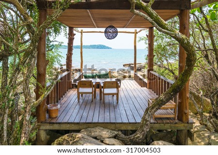 Relaxation area at beautiful tropical beach in Koh Kood Island , Thailand - stock photo