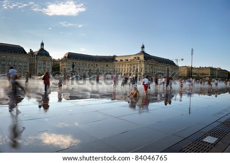 relaxation for tourists on the water mirror of Bordeaux in French - stock photo