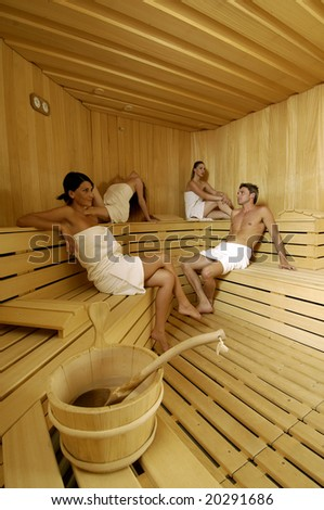 Relaxation in sauna - stock photo