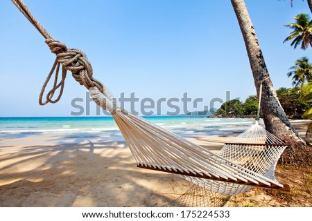 relaxation on exotic tropical beach - stock photo