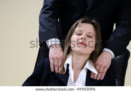 relaxed business woman for massage - stock photo