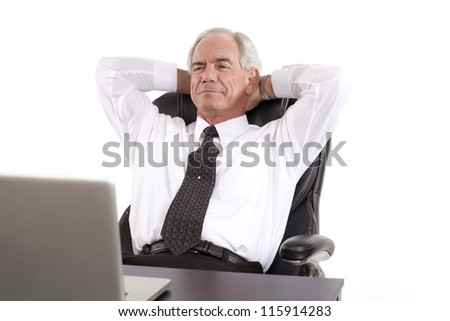 Relaxed Businessman looking at his computer - stock photo