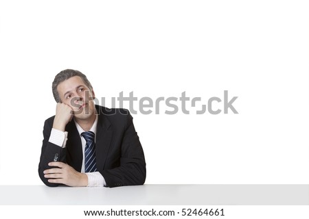 Relaxed cheerful businessman - stock photo
