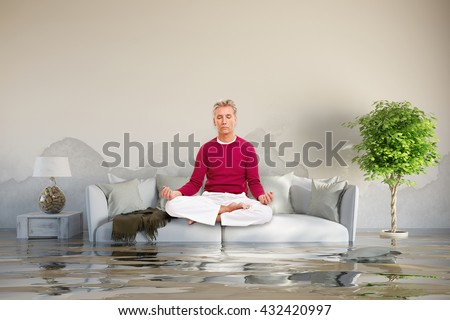 Relaxed man doing yoga after water damage on his sofa (3D Rendering) - stock photo