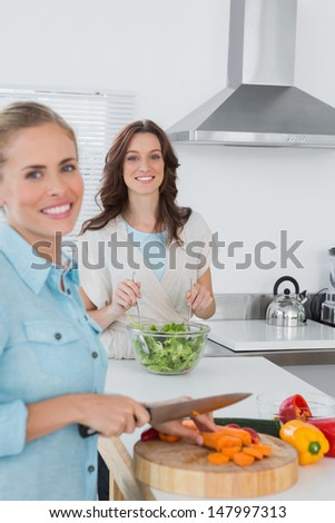 Relaxed women cooking together in the kitchen - stock photo