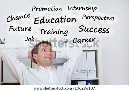 Relaxied vusiness man thinking about education and success - stock photo
