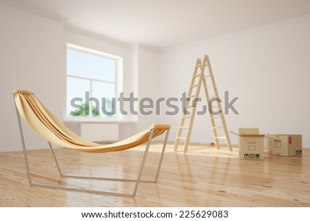 Relaxing hammok standing in a room during relocation with moxing boxes (3D Rendering) - stock photo