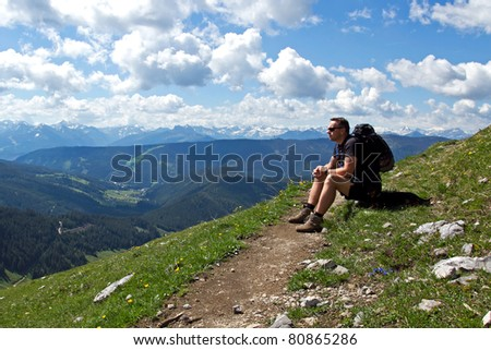 relaxing hiker - stock photo