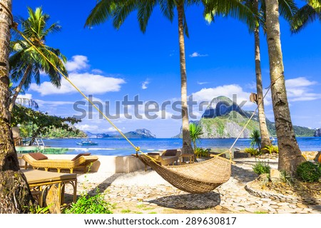 relaxing holidays in tropical paradise. Philippines - stock photo