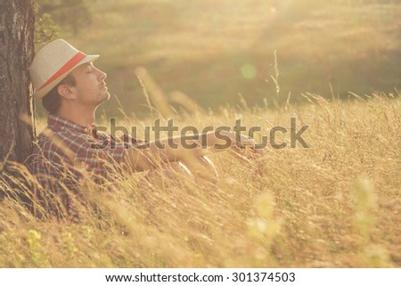 Relaxing in nature. - stock photo