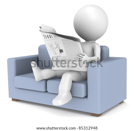 Relaxing News. 3D little human character sitting in the sofa reading the news. People series. - stock photo