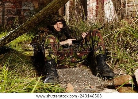 Relaxing soldier - stock photo