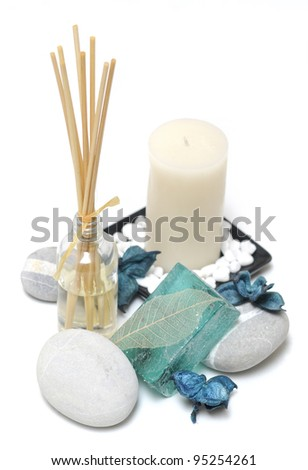 relaxing Spa decorations on white background - stock photo