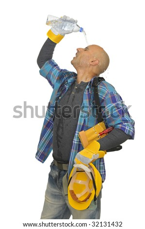 Relaxing worker turning water bottle over is head to cool down isolated in white - stock photo