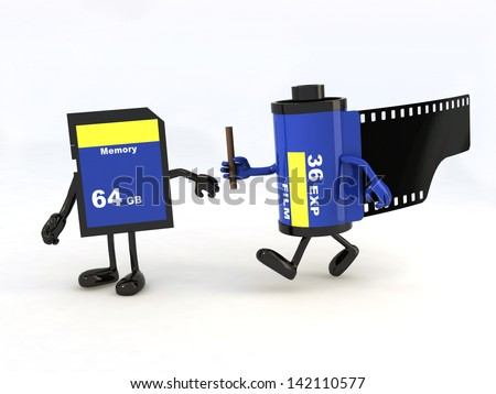 relay between film photo roll and memory stick, the concept of innovation tecnology - stock photo
