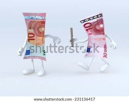 relay between old and new 10 euro notes, 3d illustration - stock photo