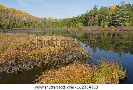 Relections in Mauricie National Park, Quebec, Canada - stock photo