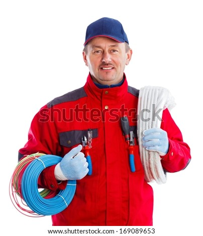 Reliable electrician with colorful wire bundles and flexible tube. - stock photo