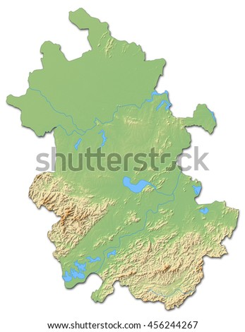 Relief map - Anhui (China) - 3D-Rendering - stock photo
