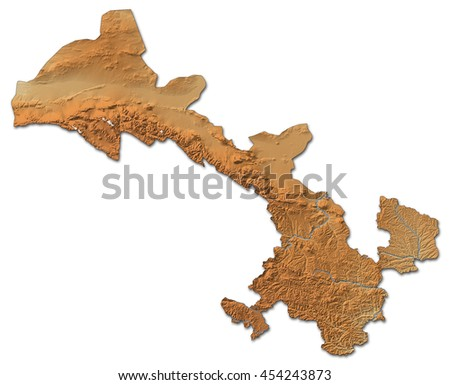 Relief map - Gansu (China) - 3D-Rendering - stock photo