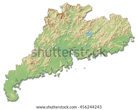Relief map - Guangdong (China) - 3D-Rendering - stock photo