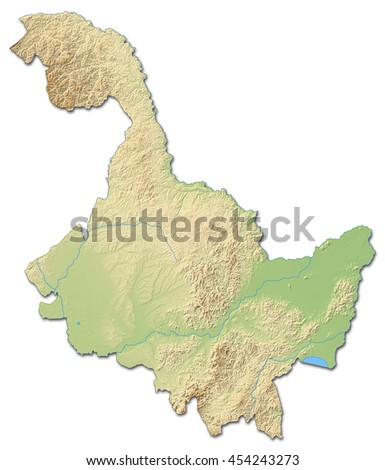 Relief map - Heilongjiang (China) - 3D-Rendering - stock photo