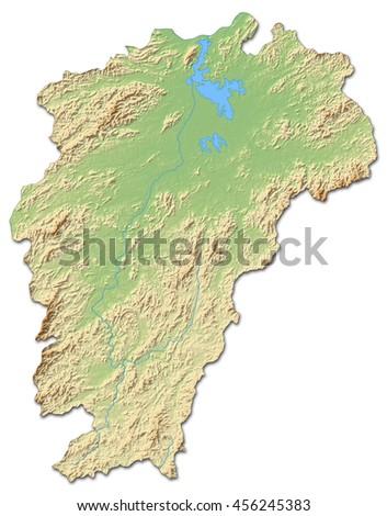 Relief map - Jiangxi (China) - 3D-Rendering - stock photo
